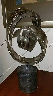 Vtg 80s C. Jere Stainless Metal Sculpture w/ Marble Base Style # 101466