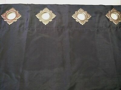 """82""""L X 50"""" wide dark gray lined curtain panel,  8 silver decorative grommets,"""