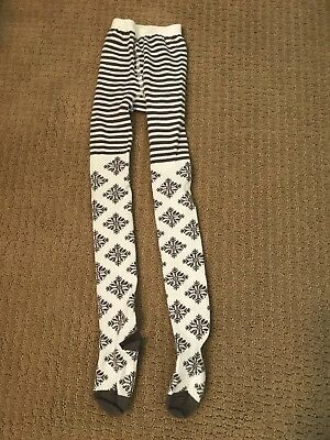 Hanna Andersson Girls White/Gray Snowflake Tights Size 110/120 EUC