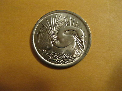 1974 Singapore coin   Great White Egret   Uncirculated beauty animal bird nice