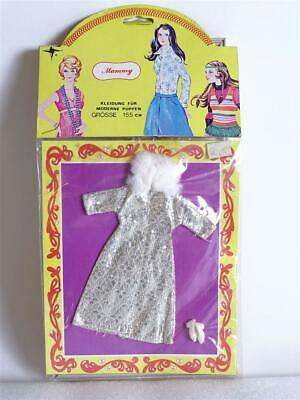 Vintage CILLY Mammy 70er Puppenkleid Doll Outfit Kleid Silber-Muster OVP sealed