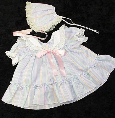 Vtg Haddad Brothers Dress Sz 3-6 mos Girl's Pastel Striped w Bonnet Eyelet USA
