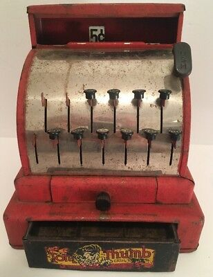 Vintage Antique Tom Thumb Red Tin Toy Cash Register by Western Stamping Co. RARE