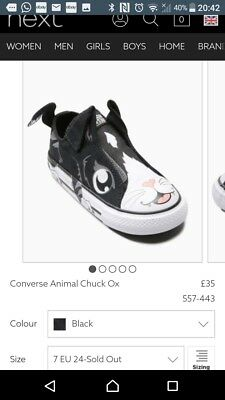 Converse Boys Or Girls Unisex Trainers. Animal Design. Size 7. RRP £35