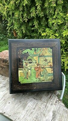 Beautiful Vintage Large Wooden Chinese Oriental Wooden Box Hand Painted *