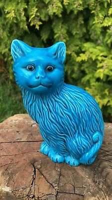 Beautiful Antique Vintage Chinese Oriental Porcelain Blue Cat Figurine Signed *