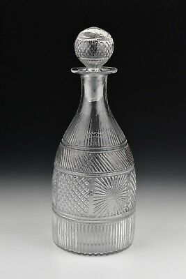 Early American GIII-19 Blown Glass Decanter in Geometric Pattern