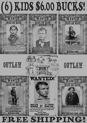 Old West Wanted Posters Outlaw Kid Doc Ringo Earp Ok Corral Tombstone Sundance