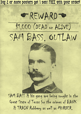Old West Wanted Poster Bass Bank Train Rob Outlaw Kid Ringo Doc Ok Reward