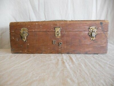 Antique / Vintage Fishing Tackle Box - Handcrafted - Homemade - Wooden