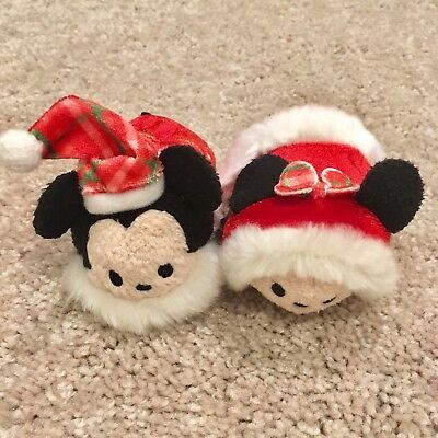 New Japan Disney Store 2015 Christmas Wreath Mickey & Minnie Mini Tsum Tsums