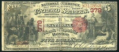 Fr. 404 CH# 379 Boston, MA 1875 $5 National Bank Note