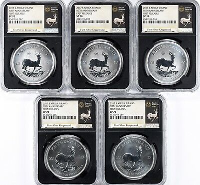 South Africa 2017 Silver Krugerrand 50th Anniversary First Releases NGC SP-70