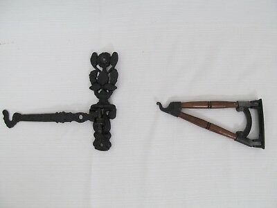 Lot of two Antique Cast Iron & Wood Wall Sconce Plant hanger brackets with hooks