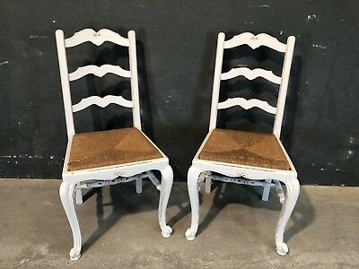 Pair Of Vintage French Occasional Chairs / Painted Shabby Chic Style (VB194)