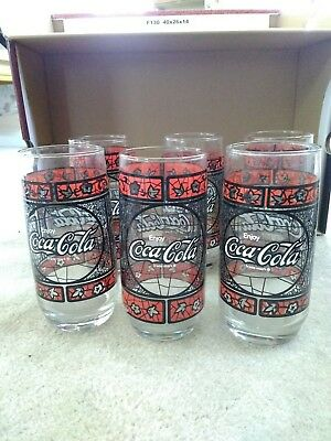 6 Vintage 16 oz Enjoy Coca Cola Tumblers Tiffany Style Stained Glass NICE