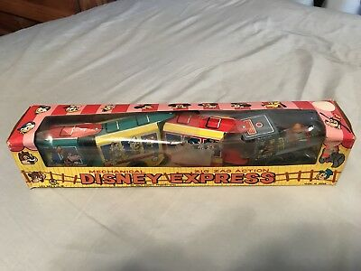 "1960's Marx Tin Wind-up ""Disney Express"" Train MIB Mickey Mouse Donald duck toy"