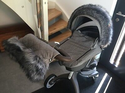 Winter Set Kinderwagenmuff Handmuff Fellrand STOKKE Xplory Trailz Scoot Crusi ..