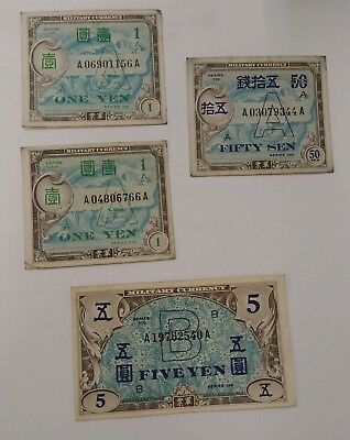 Lot of 4 Japanese American Allied Military Banknotes