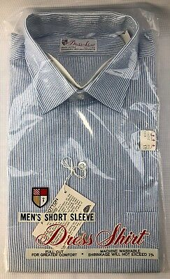 Vintage Dress Shirt by Cone Fabric Mills NOS 60s Blue Pinstripe SS 15 1/2
