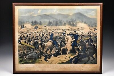 Original Currier & Ives The Battle of Gettysburg, Pa., July 3rd, 1863 Lithograph