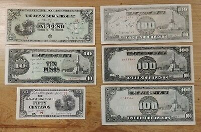 Lot of 6 Japanese Japan Banknotes - Post WW2
