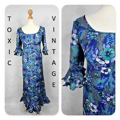 VINTAGE 1960's 1970's GREEN PURPLE FLORAL MAXI DRESS UK 10 HIPPIE TROPICAL RETRO