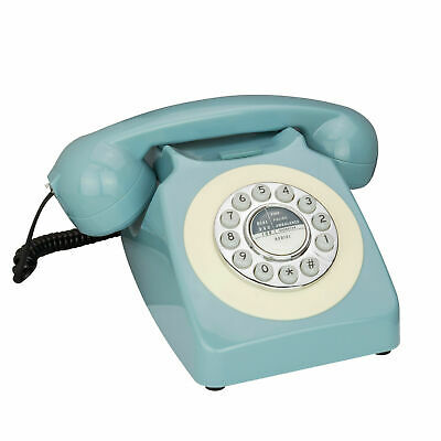 REKA Retro Style Phone Corded Vintage Telephone Push Button Dial Classic British