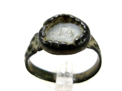 Amazing Byzantine Bronze Ring, Glass Stone On The Top+++