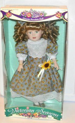 Victorian Seasons Sunflower Genuine Porcelain Doll Brass Key stand 17''
