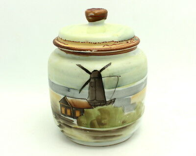 Fine Antique Hand Painted Nippon Porcelain Cigar Humidor Tobacco Jar