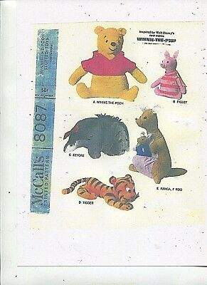 Vintage - 1960's - Winnie-The-Pooh & Friends Stuffed Toy Pattern -#1