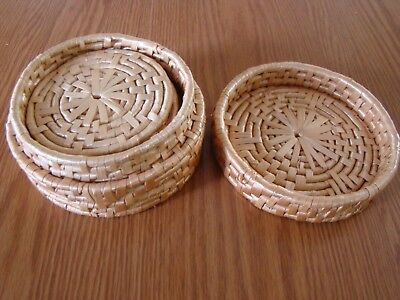 Vintage Coaster Set Round Woven Wicker Rattan With Lidded Storage 5 Coasters
