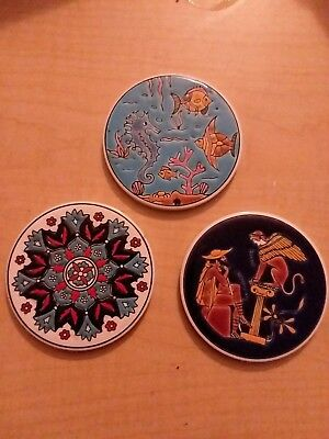 3 Vintage Round Hand Painted Enameled Tile Greek Artist Niarchos Hellas