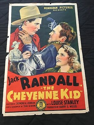 1940 One Sheet Poster from The Cheyenne Kid Starring JACK RANDALL