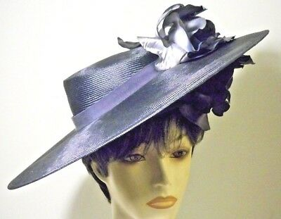 Vintage Extra Wide Brim Kentucky Derby Ladies Womens Hat Jack Mcconnell Flowers