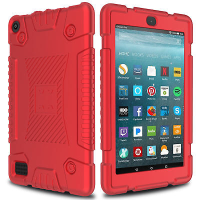 RED Amazon Kindle Fire HD 7 2017 Tablet Case Rugged Silicone Cover Skin