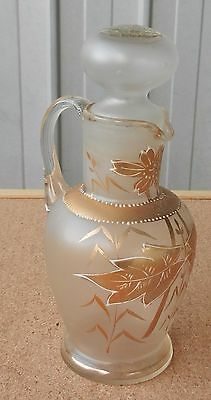 Table Serving Jug Bottle with Stopper Antique Gilt Frosted Glass Sauce Oil