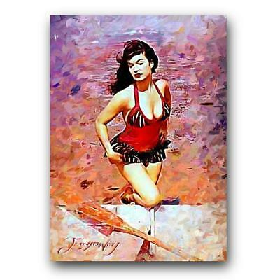 Bettie Page #8 Sketch Card Limited 2/50 Edward Vela Signed