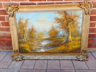 c1940s Ornate Gold Guilded Frame Oil on Canvas Substantial 112cm x 82cm Wall Art