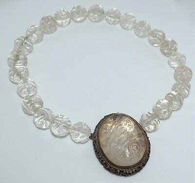 Old or Antique Chinese Rock Crystal Carving and Shou Bead Necklace