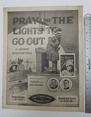 1916 Sheet Music PRAY FOR THE LIGHTS TO GO OUT Black Americana Blues