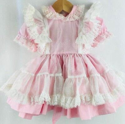 Vintage Pink Full Circle Betty Oden Layered Lace Flowers Baby Dress 12 Months