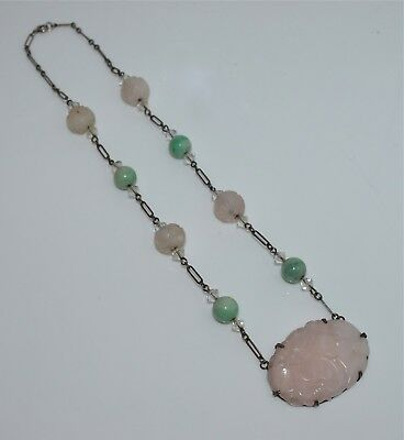 Antique Chinese Silver, Jadeite, Rose Quartz, and Rock Crystal Necklace