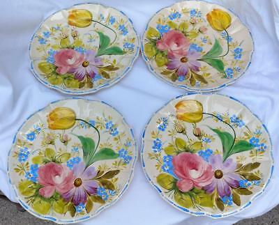 """Antique 4 Hand Painted Floral Tulip Italian Country Pottery Dinner Plates 10"""""""