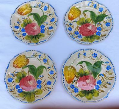 """Antique 4 Hand Painted Floral Tulip Italian Country Pottery Small Plates 6 1/2"""""""