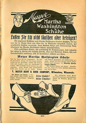 1919 AK Ad in German MAYER Martha Washington Shoe F MAYER Boot & Shoe Milwaukee