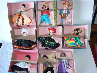 Vintage Lot 9 Madame Alexander Dolls World Countries Clothing Dress In Boxes **
