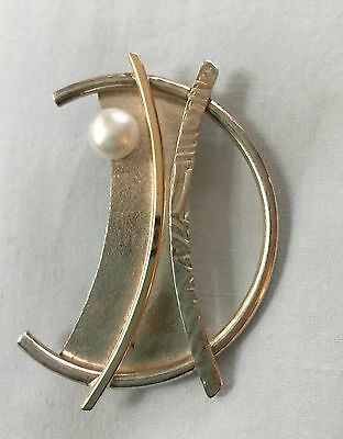 Signed Sterling Silver Pearl & 14K Pin Brooch