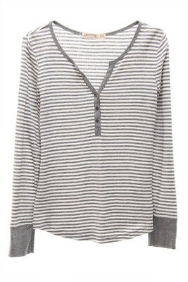 FADED GLORY NEW 0902 Gray White Long Sleeve T-Shirt Girls Top M 8-10